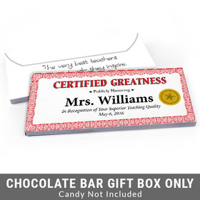 Deluxe Personalized Certified Greatness Teacher Appreciation Candy Bar Favor Box