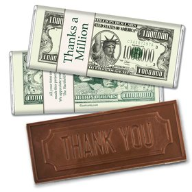 Thanks a MillionEmbossed Thank You Bar Personalized Embossed Chocolate Bar Assembled