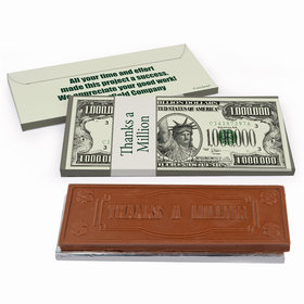 Deluxe Personalized Thanks A Million Business Thank You Chocolate Bar in Gift Box