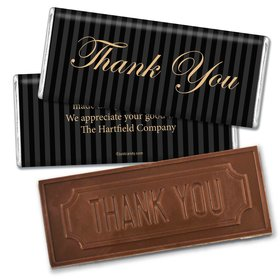 Pinstripe Thank YouEmbossed Thank You Bar Personalized Embossed Chocolate Bar Assembled