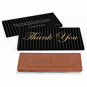 Deluxe Personalized Pinstripes Business Thank You Chocolate Bar in Gift Box