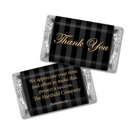 Personalized Hershey's Miniature Wrappers Only - Business Thank You Formal Gold & Pinstripes