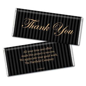 Pinstripe Thank You Personalized Hershey's Bar Assembled