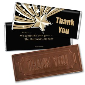 Star of ExcellenceEmbossed Thank You Bar Personalized Embossed Chocolate Bar Assembled