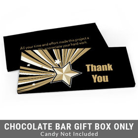 Deluxe Personalized Gold Star Business Thank You Candy Bar Favor Box