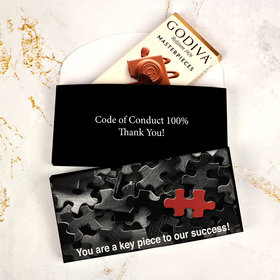 Deluxe Personalized Business Key Piece Godiva Chocolate Bar in Gift Box