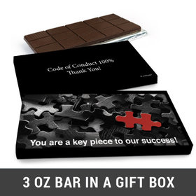 Deluxe Personalized Puzzle Key Piece Business Belgian Chocolate Bar in Gift Box (3oz Bar)