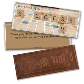 Personalized Embossed Chocolate Bar & Wrapper - Thank You Scrabble Success