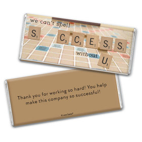 Personalized Chocolate Bar & Wrapper - Thank You Scrabble Success