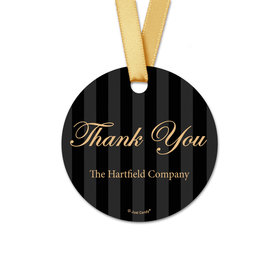 Personalized Thank You Formal Pinstripe Round Favor Gift Tags (20 Pack)