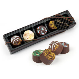 Personalized Thank You Pinstripes Gourmet Chocolate Truffle Gift Box (5 Truffles)