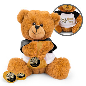 Personalized Gold Star Thank You Teddy Bear with Chocolate Coins in XS Organza Bag