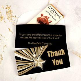 Deluxe Personalized Business Thank You Rising Star Godiva Chocolate Bar in Gift Box