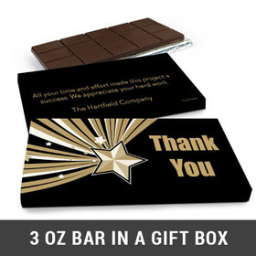 Deluxe Personalized Thank You Gold Star Business Belgian Chocolate Bar in Gift Box (3oz Bar)
