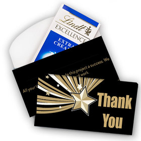 Deluxe Personalized Business Thank You Rising Star Lindt Chocolate Bar in Gift Box (3.5oz)
