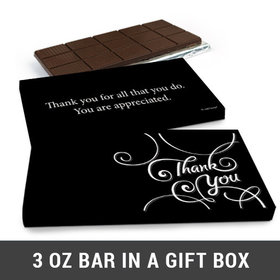 Deluxe Personalized Thank You Scroll Business Belgian Chocolate Bar in Gift Box (3oz Bar)