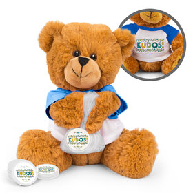 Personalized Kudos Thank You Teddy Bear with Chocolate Coins in XS Organza Bag