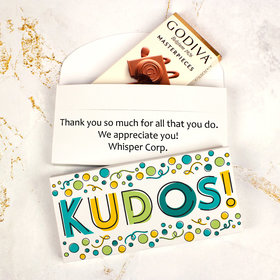 Deluxe Personalized Business Kudos Godiva Chocolate Bar in Gift Box