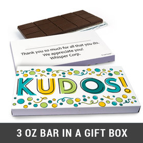 Deluxe Personalized Kudos Business Belgian Chocolate Bar in Gift Box (3oz Bar)