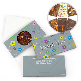 Personalized Flowers Thank You Gourmet Infused Belgian Chocolate Bars (3.5oz)