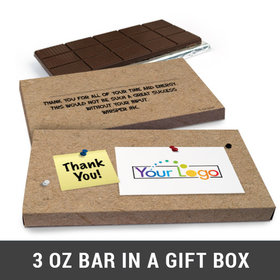 Deluxe Personalized Add Your Logo Business Belgian Chocolate Bar in Gift Box (3oz Bar)