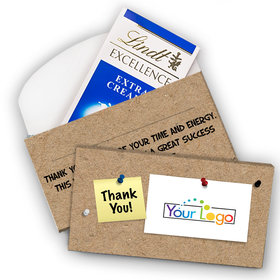 Deluxe Personalized Business Add Your Logo Lindt Chocolate Bar in Gift Box