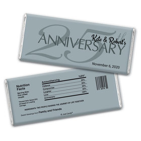 Anniversary Party Favors Personalized Chocolate Bar Wrappers 25th Anniversary Chocolate Favor