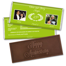 Anniversary Personalized Embossed Chocolate Bar Then & Now Photo