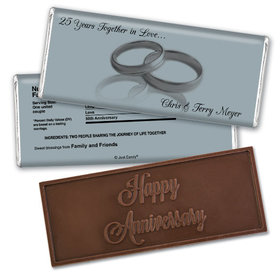Anniversary Personalized Embossed Chocolate Bar Gilded Golden Rings 50th