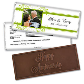 Anniversary Personalized Embossed Chocolate Bar Elegant Framed Photo