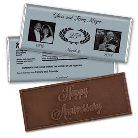 Gilded AnniversaryEmbossed Happy Anniversary Bar Personalized Embossed Chocolate Bar Assembled