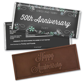 Anniversary Personalized Embossed Chocolate Bar Flowers & Scrolls