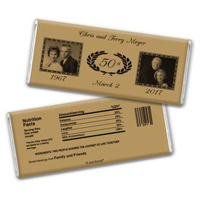 Anniversary Personalized Chocolate Bar Then and Now Photos Golden 50th