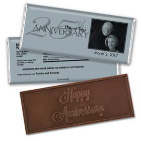Anniversary Party Favors Personalized Embossed Chocolate Bar 25th Silver Anniversary Party Favors - Simple Photo Chocolate & Wrapper