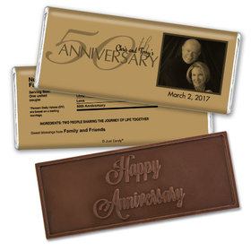 Simple PhotoEmbossed Happy Anniversary Bar Personalized Embossed Chocolate Bar Assembled