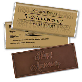 Anniversary Personalized Embossed Chocolate Bar Golden 50th