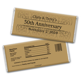 Anniversary Personalized Chocolate Bar Wrappers Golden 50th