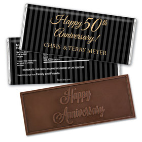 Anniversary Personalized Embossed Chocolate Bar Pinstripe