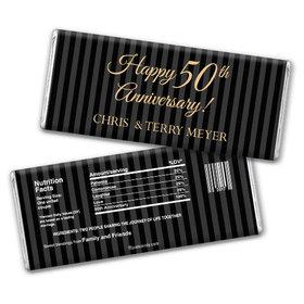 Anniversary Personalized Chocolate Bar 50th Pinstripe