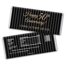 Anniversary Personalized Chocolate Bar Wrappers Pinstripe