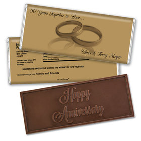 Anniversary Personalized Embossed Chocolate Bar Rings