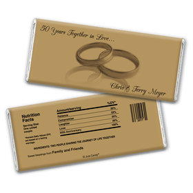 Anniversary Personalized Chocolate Bar Wrappers Rings