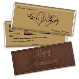 Anniversary Party Favors Personalized Embossed Chocolate Bar Chocolate & Wrapper Always My One Anniversary Favors
