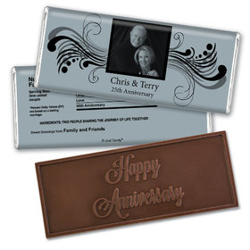 Anniversary Party Favors Personalized Embossed Chocolate Bar Chocolate & Wrapper Forever Yours Anniversary Favors