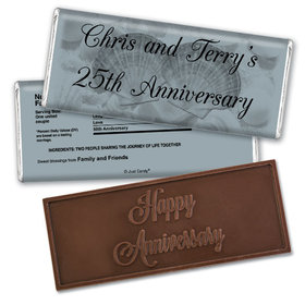 Anniversary Party Favors Personalized Embossed Chocolate Bar Chocolate & Wrapper Two of a Kind Anniversary Favors