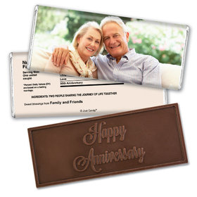 All About LoveEmbossed Happy Anniversary Bar Personalized Embossed Chocolate Bar Assembled