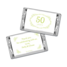 Anniversary Party Favors Personalized Hershey's Miniatures Wrappers Green Swirls 50th Anniversary Chocolate Favor