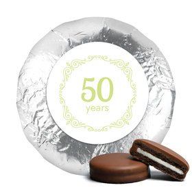 Anniversary Party Favors Green Swirls 50th Milk Chocolate Covered Oreo Cookies (24 Pack)