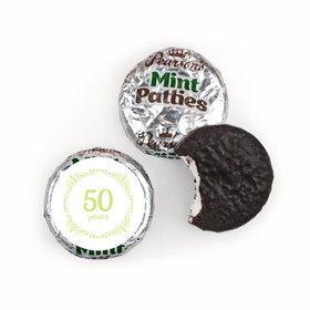 Anniversary Party Favors Green Swirls 50th Pearson's Mint Patties