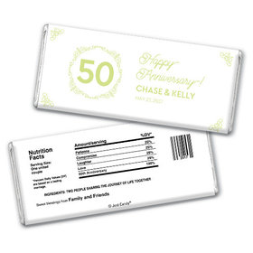 Anniversary Party Favors Personalized Chocolate Bar Green Swirls 50th Anniversary Chocolate Favor